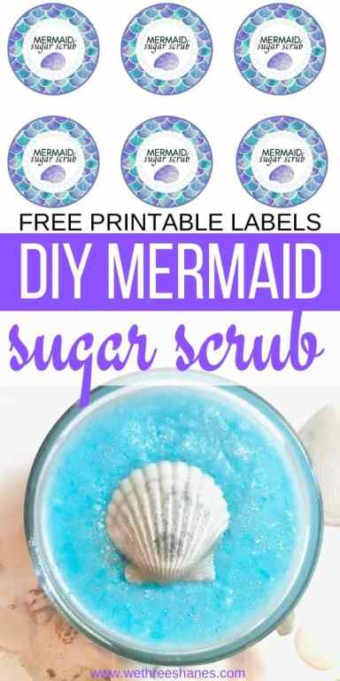 DIY Mermaid Sugar Scrubs makes the best gifts! Just print out these free printables labels, follow the recipe, and you'll have adorable gifts your friends or teachers will love for pennies out of your pocket! | We Three Shanes