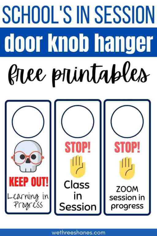Use these adorable door hangers for your kid's bedroom door while remote learning is going on. Keep family members from walking in on virtual class sessions with these free printables. | We Three Shanes