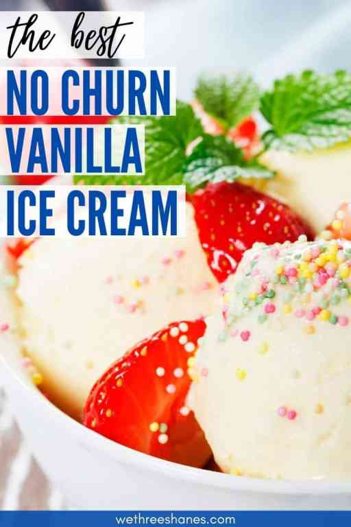 Make delicious homemade ice cream with a couple simple ingredients. No Ice cream maker required for this quick and easy no churn vanilla ice cream!   We Three Shanes