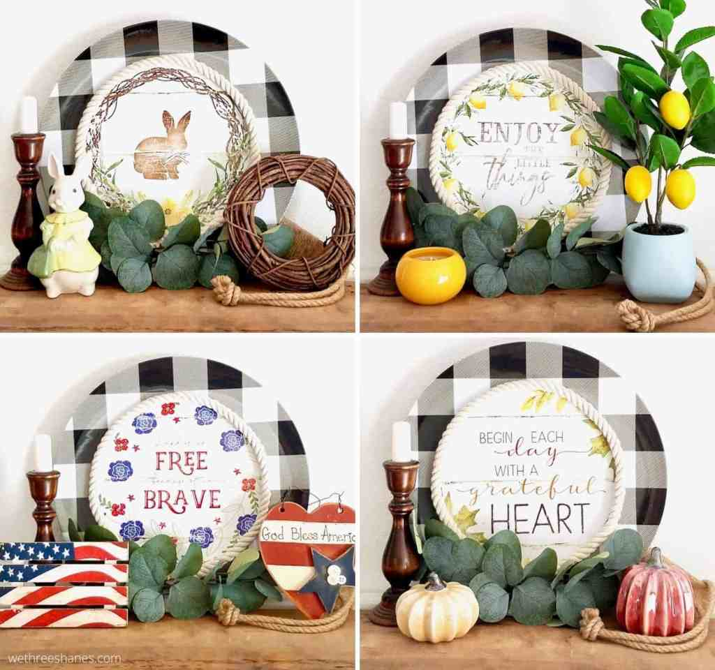 Turn a Dollar Tree Calendar and Buffalo Check Charger Plate into interchangeable kitchen decor. Only $4 to make this charming DIY Charger Plate Decor. | We Three Shanes