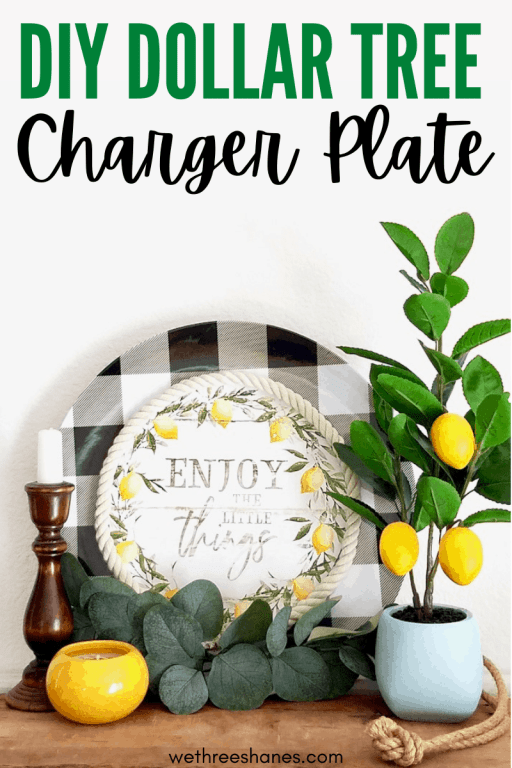 Turn a Dollar Tree, buffalo check charger plate into charming farmhouse home decor. A super simple, budget friendly craft! | We Three Shanes