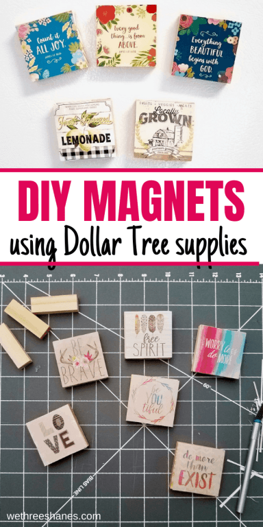 Make the cutest magnets using Dollar Tree jenga blocks and calendars. A quick and easy craft that makes a great DIY gift! | We Three Shanes