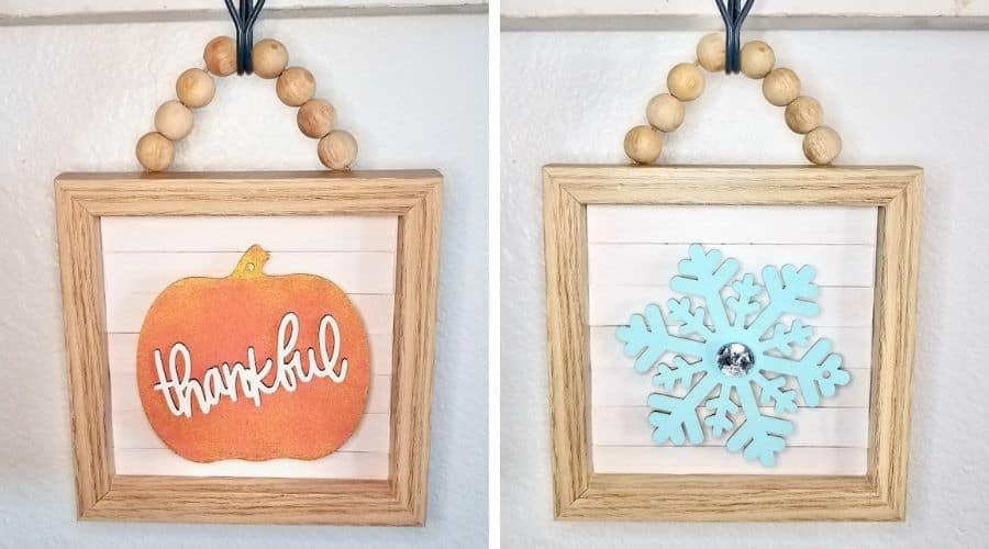 This DIY Wood Bead Sign uses Dollar Tree supplies to make adorable interchangeable home decor you can use for all the holidays. | We Three Shanes