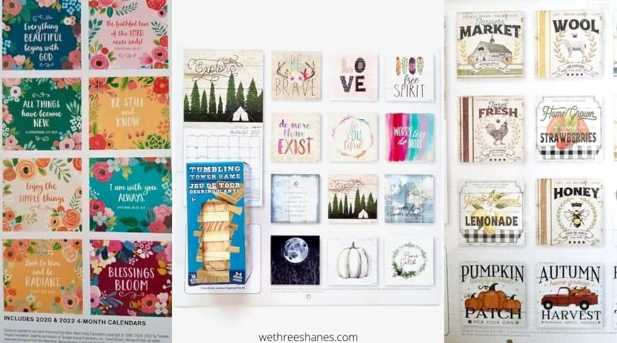 Use the squares from the backs of calendars to make the cutest DIY jenga block crafts. So many calendars to choose from. Buy them all and get crafting! | We Three Shanes