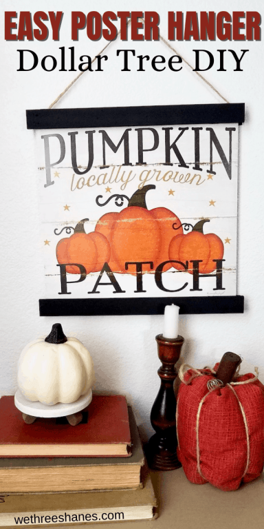 Make your own DIY Magnetic Poster Hanger with Dollar Tree supplies. This budget friendly frame makes it easy to swap photos for year round holiday and seasonal decor. | We Three Shanes