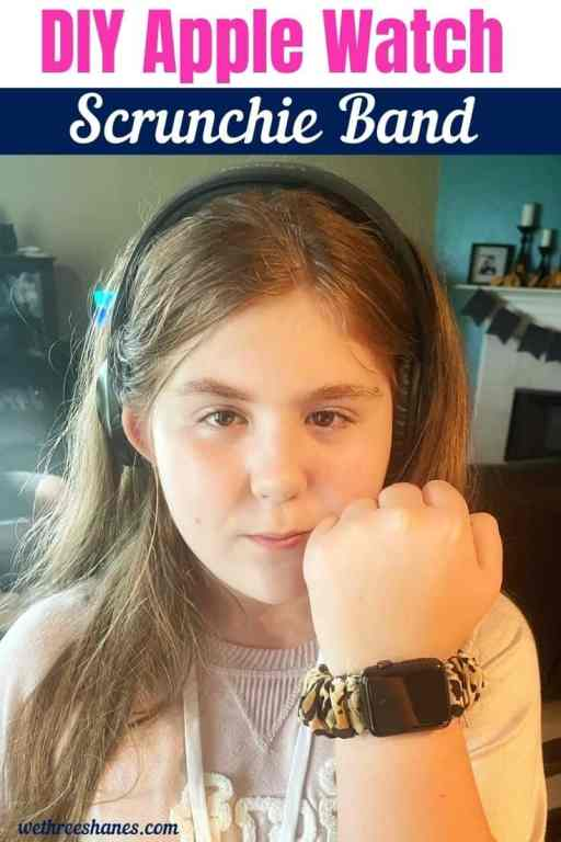 Learn how to sew a scrunchie Apple watch band out of fabric.  Quick, easy, cost effective and cute!   We Three Shanes