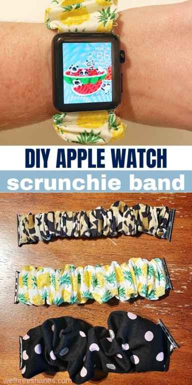 Learn how to make your own DIY Apple watch scrunchie band with this easy to follow tutorial. It's an easy-sew project and makes a great DIY gift!   We Three Shanes
