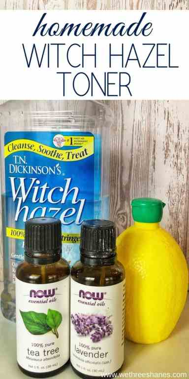 DIY Lavender & Lemon Astringent uses the power of Witch Hazel and other natural ingredients to help cleanse, balance, and refresh the skin. No more harsh chemicals for your lovely face! | We Three Shanes