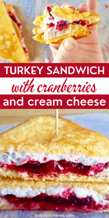 Turkey, cranberries, and cream cheese come together to make a sweet yet savory sandwich. Make it with Thanksgiving leftovers and enjoy every single bite. This is the sandwich you never knew you needed in your life! | We Three Shanes