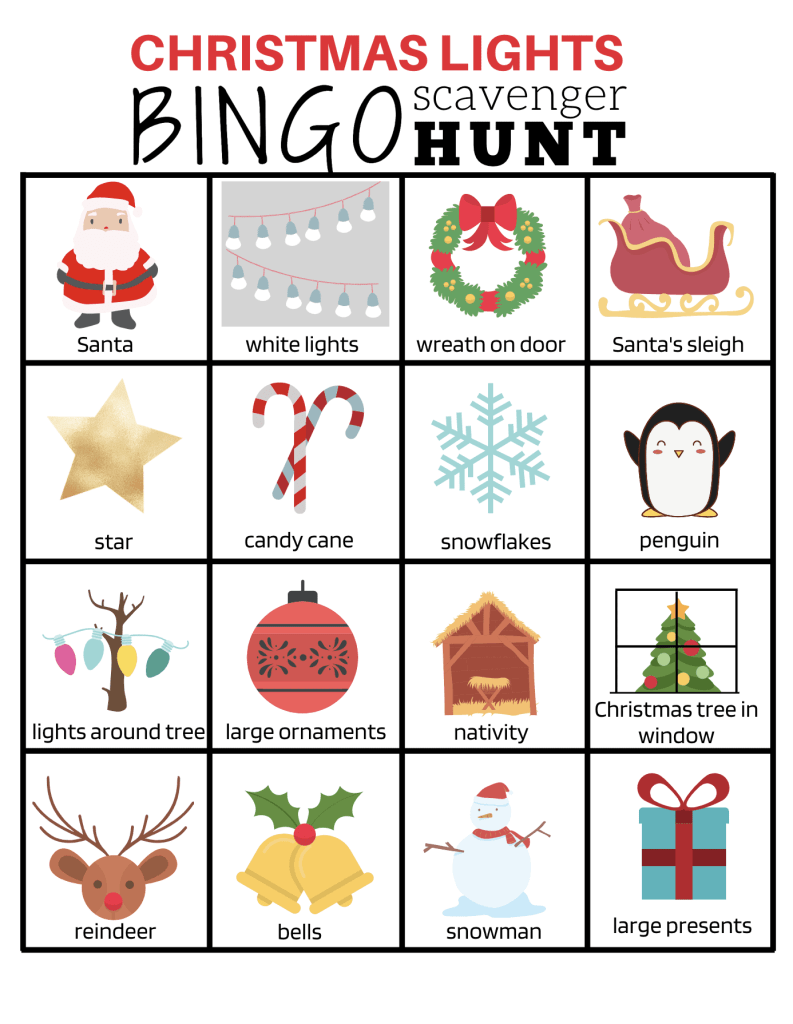 Grab this Christmas Lights Scavenger Hunt Bingo printable for FREE. It's fun for the whole family! | We Three Shanes
