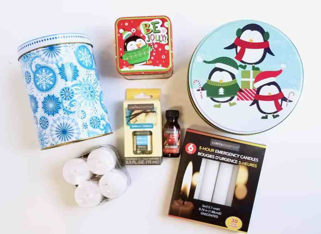 Learn how to make Christmas Tin Candles using supplies from the Dollar Tree. They make a great addition to holiday decor or give them away for a fun DIY gift.