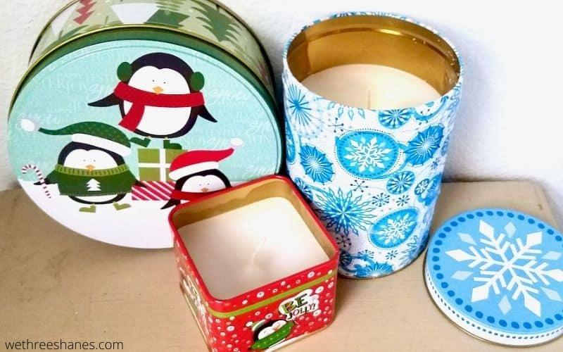 DIY Dollar Store Tin Christmas Candles