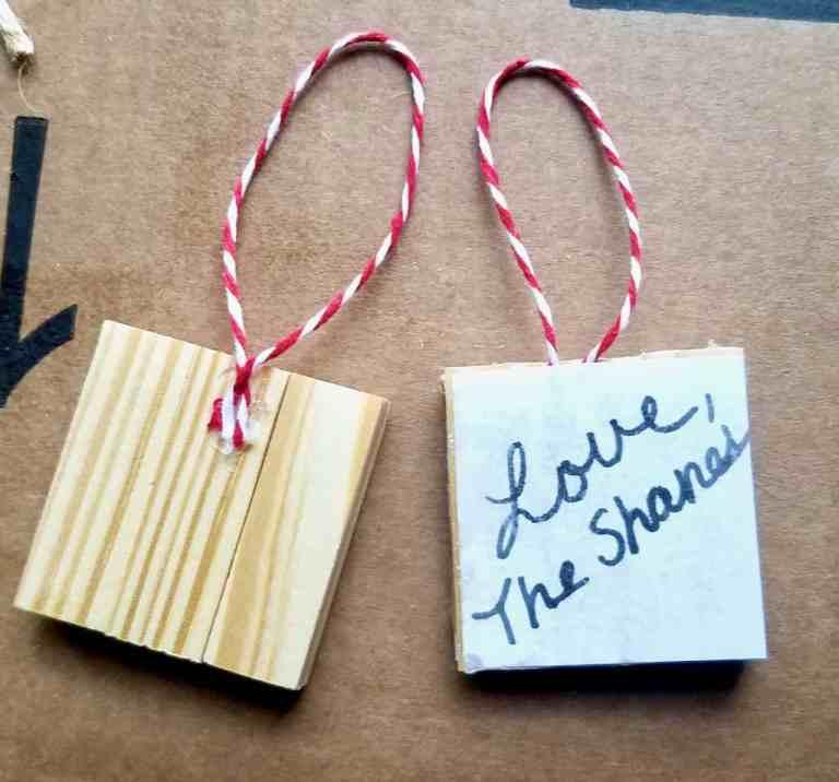 Make a Christmas ornament out of jenga blocks.