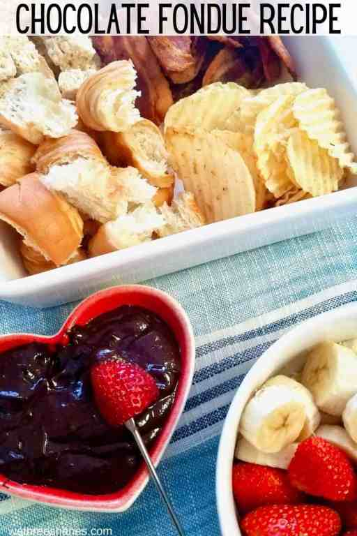 Chocolate fondue is the perfect desert for any occasion. This easy recipe can be made in minutes with out a fondue pot. | We Three Shanes