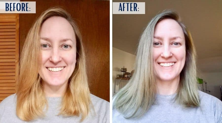 A before and after look at how Overtone Vibrant Silver looks on my level 8 bleached hair. | We Three Shanes
