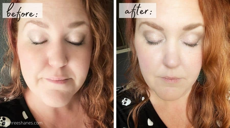 Check out these before and after photos of this amazing homemade setting spray. It keeps makeup in place all day long even in the Texas heat!