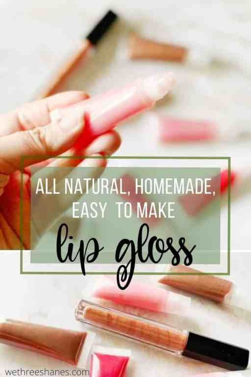 After making this all natural, super easy DIY lip gloss, you'll never have to buy the store bought kind full of chemicals again. | We Three Shanes