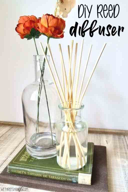 A homemade reed diffuser is super simple to make and brings a lovely look and scent to your home. Learn how to make your own with the easy to follow tutorial. | We Three Shanes