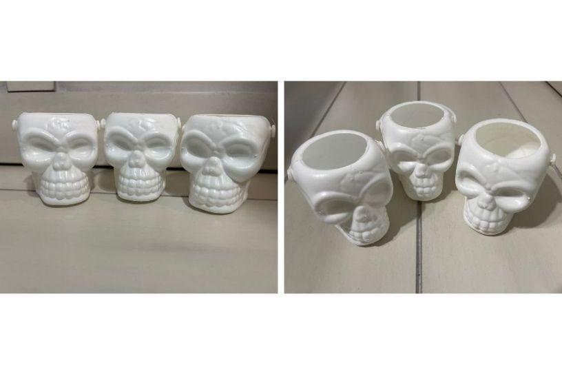 mini white skull buckets from dollar tree