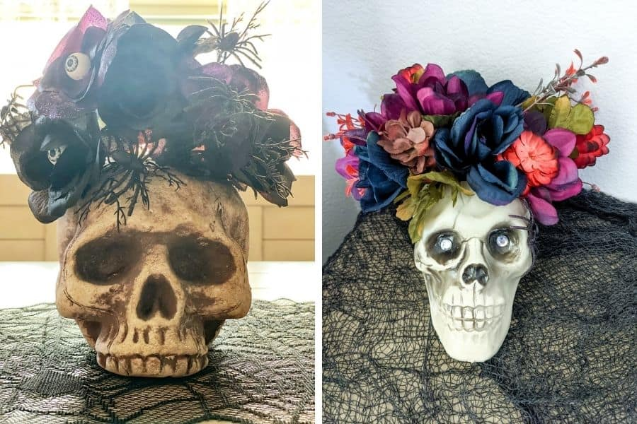 side by side pictures of skull heads with flowers coming out of the top of them.