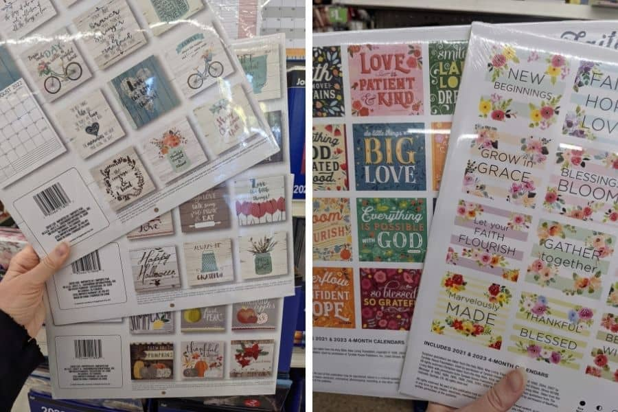 The backs of dollar store calendars from 2022. Some farmhouse style and some flowery ones with cute sayings.