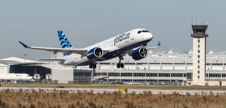 JetBlue Airbus A220-300 inaugural test flight