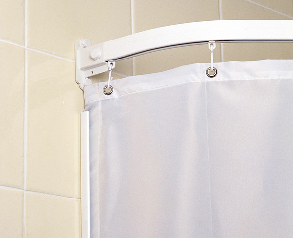 curtain rails and weighted shower curtains