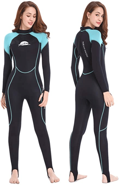 Women Stretch Surf Swim Diving Hooded Wetsuit UV Protection Front Zip Swimwear