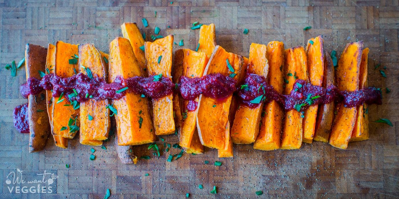 Sweet Potato Wedges With Balsamic Beet Ketchup