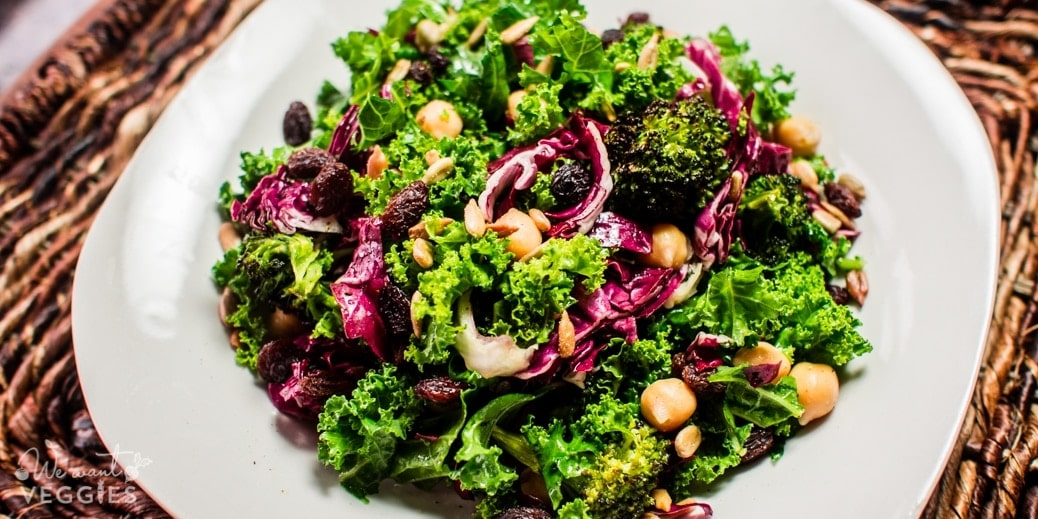 Roasted Broccoli, Chickpea & Kale Salad