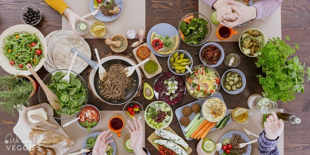 Dinner table filled with vegan eats