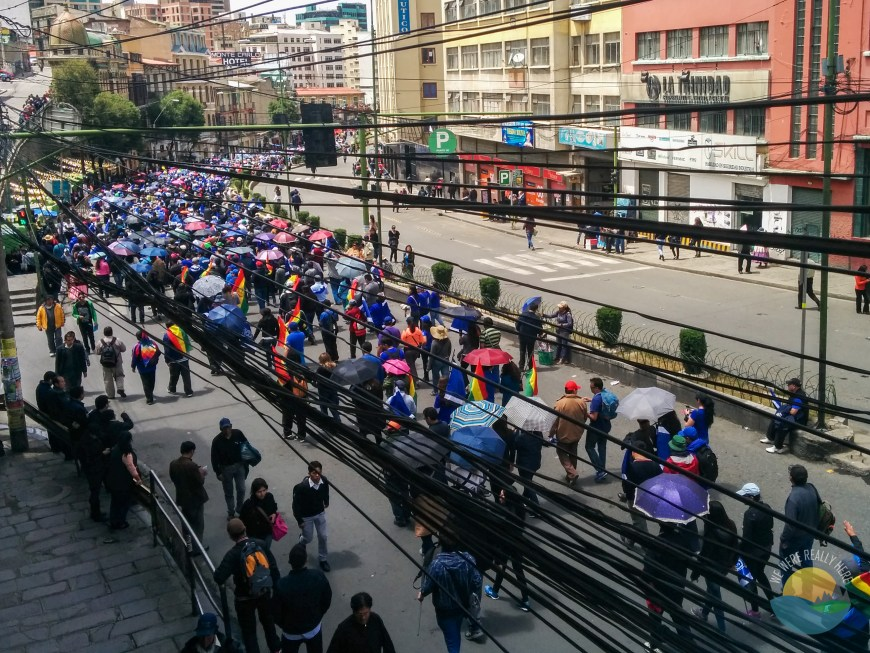 Protests on the streets of La Paz.