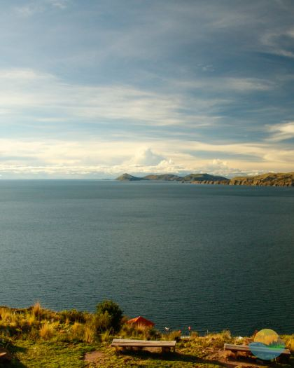 Isla del Sol seen from Copacabana, Bolivia