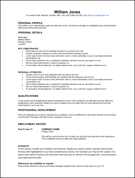 Graduate CV Template for Free