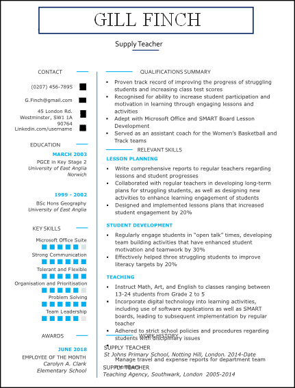 Supply Teacher CV Template