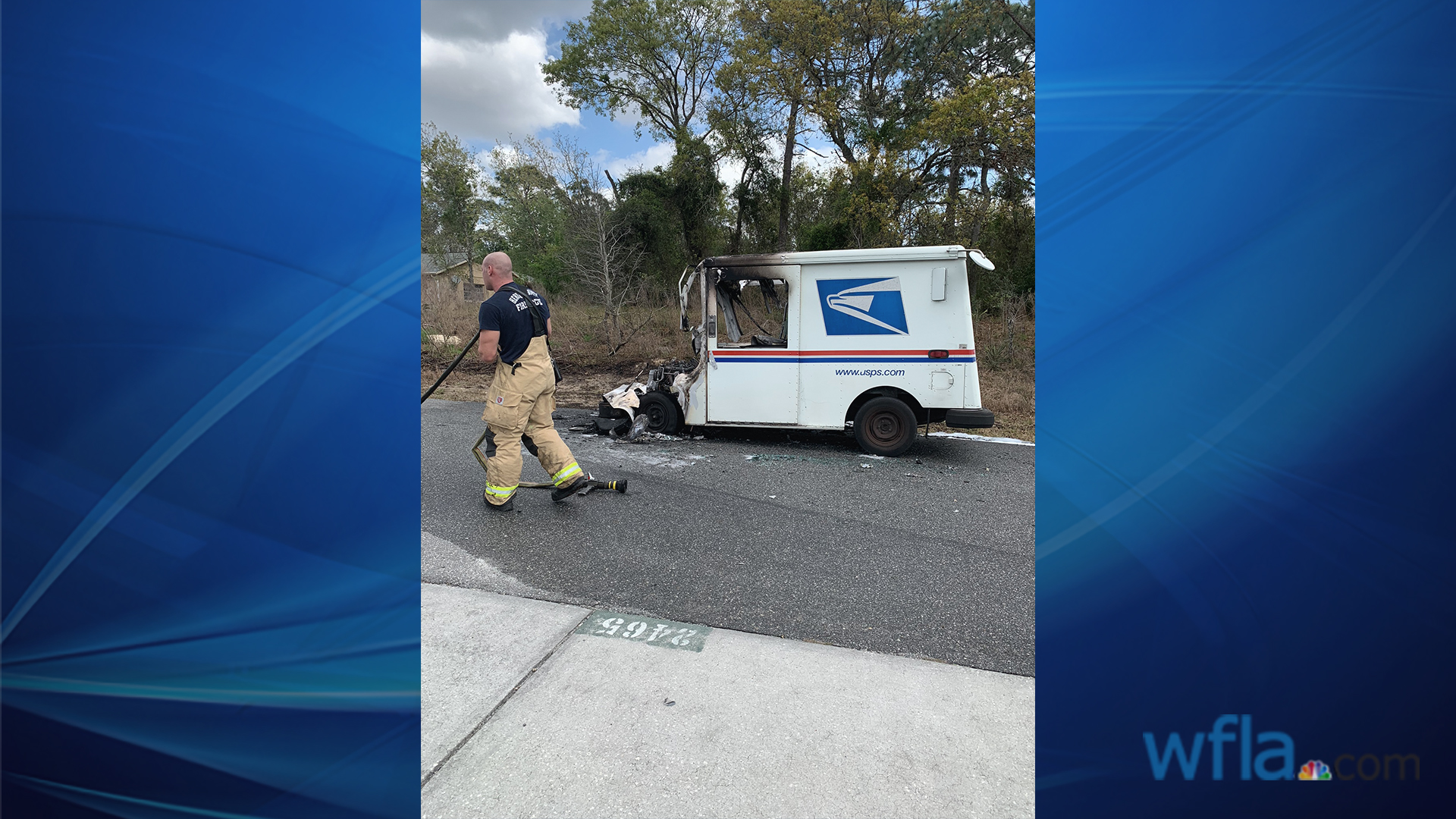 Neighbors credit driver for saving packages after mail truck goes up
