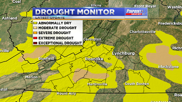 Portions of Southwest Virginia under Moderate Drought
