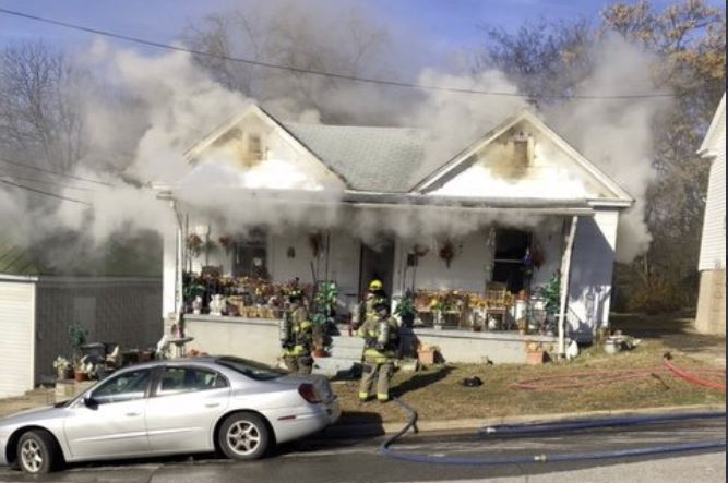 Crews were called to a fire at this home in the 200 block of Scales Street in Danville Sunday morning, Dec. 8. The fire is now under control. (Photo: A. Campbell/Danville Life Saving Crew)