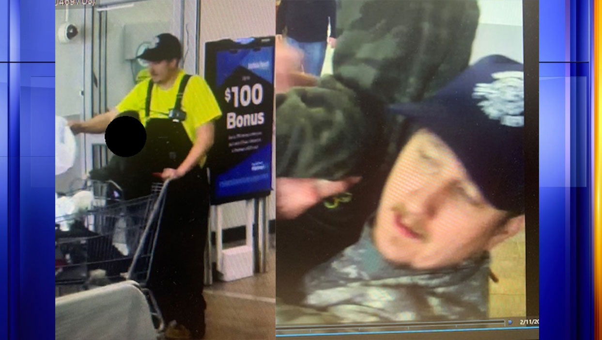 Police say these images were taken from security cameras at the Old Forest Road Walmart on Tuesday, Feb. 11 as part of a larceny investigation. (Photos: Courtesy Lynchburg Police Department)