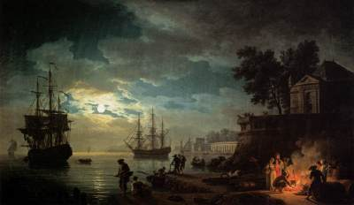 Night: Seaport by Moonlight (1771) by VERNET, Claude-Joseph Oil on canvas, 98 x 164 cm Musée du Louvre, Paris
