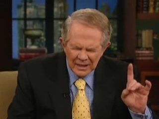 Covert Satanist Pat Robertson Flashes Devils Hand