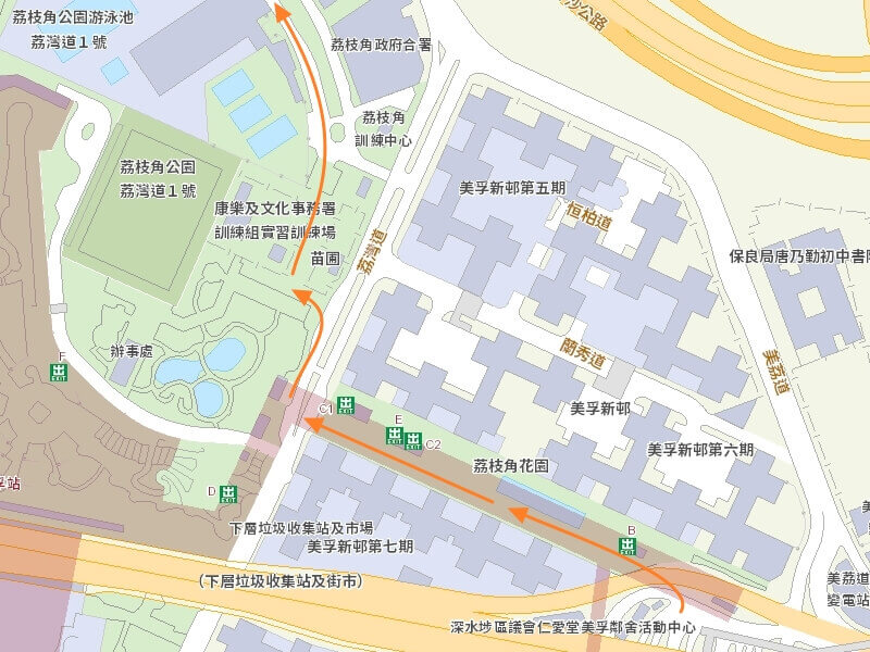 Go to Lai Chi Kok Park Swimming Pool from Bus Terminus