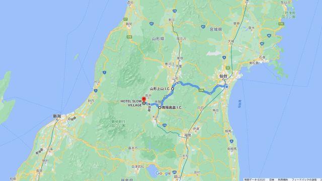 夕月でご飯ホテルスロービレッジに泊って石箱遺跡をちょっと見た飯豊出張の旅(山形県飯豊町)_map