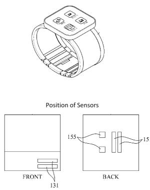 A patent image showing the position of sensors