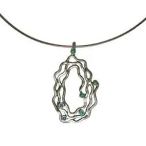 Pendant with Irregular Silver Strands and Opals