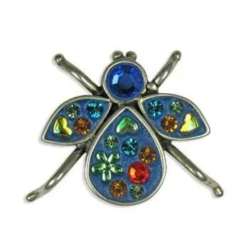 Sterling Silver Bug Brooch filled with Swarovski Crystals