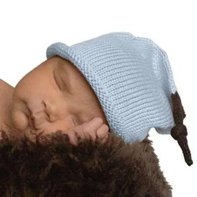 Blue Hand Knitted Cotton Baby Beanie Hat