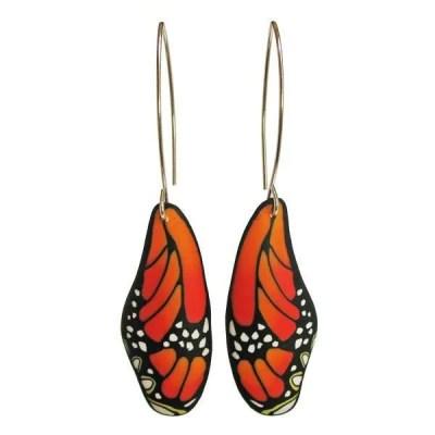 Orange Butterfly Wing Earrings
