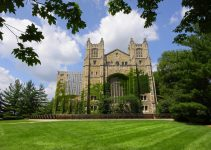 Beautiful architecture of historic university of Michigan law school.