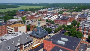 An aerial view of Downtown Clarksville, Tennessee.